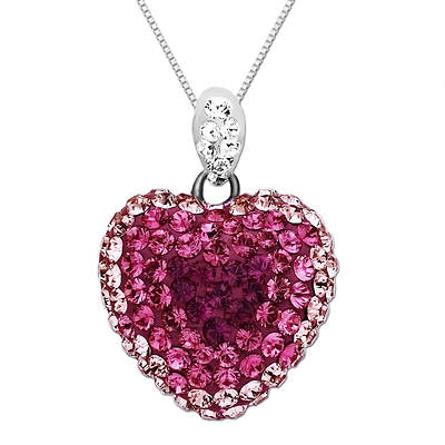 Lauren Taylor 1.05 ct. t.w. Pink Fade Swarovski Crystal Elements Heart-Shaped Necklace in Sterling Silver