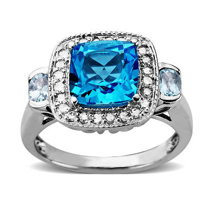 2.90 Carat Blue Topaz, Light Blue Topaz and .20 ct. t.w. Diamond Fashion Ring in Sterling Silver