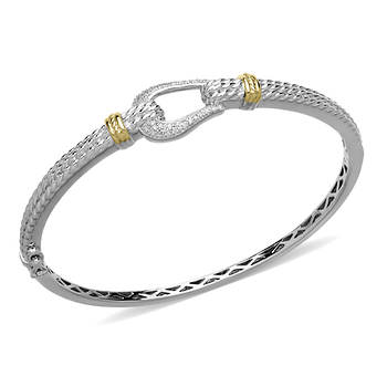 .10 ct. t.w. Diamond Horseshoe Bangle Bracelet in Two-Tone