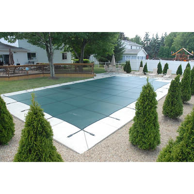 Robelle 16' x 32' Rectangular with Center Steps Commercial Mesh Safety Inground Winter Pool Cover - Green