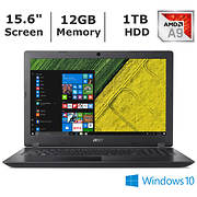 Acer Aspire 3 Notebook, AMD A9-9420 Processor, 12GB Memory, 1TB Hard D