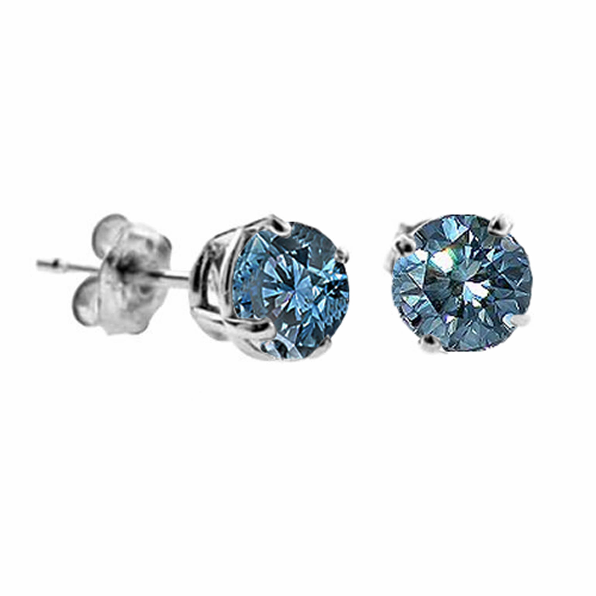 carat round blue diamond stud earrings in 14k white gold bj 39 s wholesale club. Black Bedroom Furniture Sets. Home Design Ideas