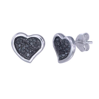 .25 Carat Round Black Diamond Heart Stud Earrings in Sterling Silver