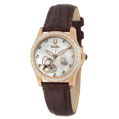 Bulova Diamond Women's Watch in Rose Gold-Plated Stainless Steel