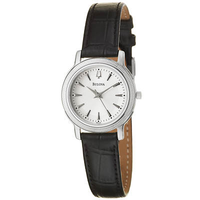 Bulova Classic Women's Dress Watch with Black Leather Strap