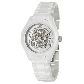 Emporio Armani Ceramica Women's Skeleton Watch in White Ceramic