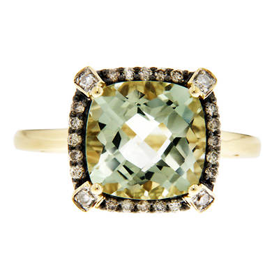.20 ct. t.w. Green Amethyst with Champagne and White Diamond Accents Ring in 14K Yellow Gold