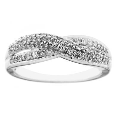 .33 ct. t.w. Diamond Crisscross Ring in 14K White Gold