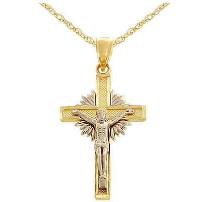 Latin Treasures 14K Two-Tone Gold Crucifix Pendant Necklace