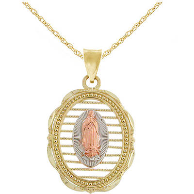 Latin Treasures 14K Tri-Colored Gold Our Lady of Guadalupe Medal Pendant Necklace