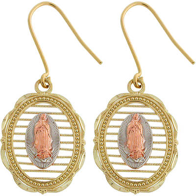 Latin Treasures 14K Tri-Colored Our Lady of Guadalupe Dangle Earrings