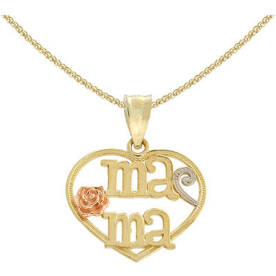 Latin Treasures 14K Tri-Colored Ma-Ma Heart Pendant