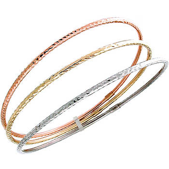 14k Tri-Colored Gold 3-Row Bangle Bracelet