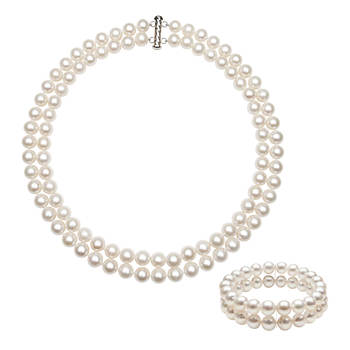 8.5mm-9.5mm Cultured Freshwater Pearl Double Strand Necklace and Bracelet Set