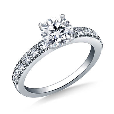 1.00 ct. t.w. Round Diamond Vintage Engagement Ring in 14K White Gold