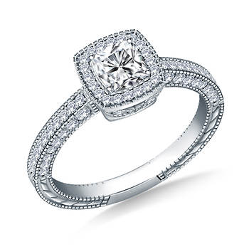 1.50 ct. t.w. Cushion and Round Diamond Vintage Halo Engagement Ring in 14K White Gold