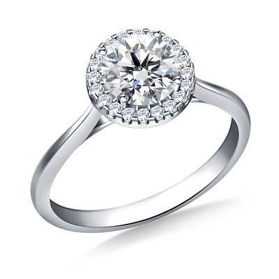 1.00 ct. t.w. Round Diamond Cathedral Halo Engagement Ring in 14K White Gold
