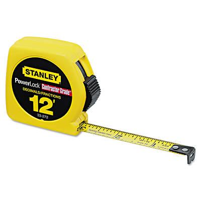 """STANLEY PowerLock 12' Contractor Grade Tape Measure with 1/32"""" Graduation"""