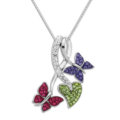 Lauren Taylor 1.25 ct. t.w. Swarovski Crystal ElementsButterflies and Leaf Pendant Necklace in Sterling Silver