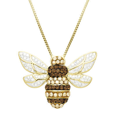 Lauren Taylor .80 ct. t.w. Swarovski Crystal Elements Bee Pendant Necklace in Yellow Gold-Plated Sterling Silver