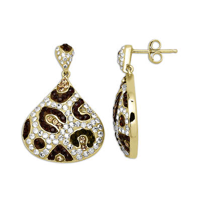 Lauren Taylor 2.25 ct. t.w. Swarovski Crystal Elements Cheetah Stud Dangle Earrings in Yellow Gold-Plated Sterling Silver