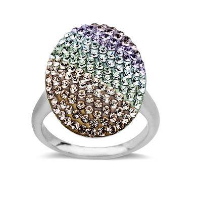 Lauren Taylor 1.30 ct. t.w. Rainbow Swarovski Elements Ring in Sterling Silver