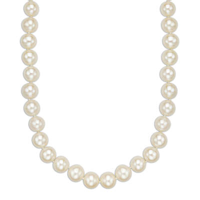 Ocean Treasures 8mm White Cultured Freshwater Pearl Necklace in 14K Yellow Gold