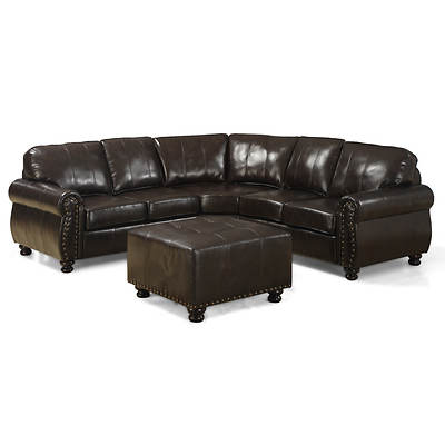 Baxton Studio Hammond 4-Piece Bonded Leather Sectional - Dark Brown