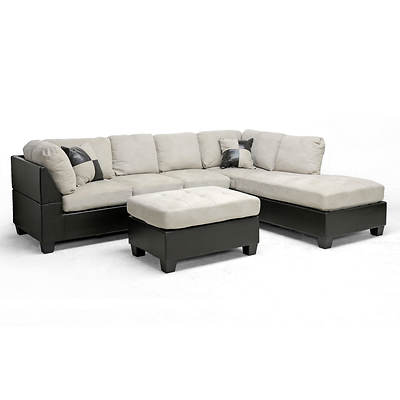 Baxton Studio Mancini 3-Piece Sectional, Right-Facing - Dark Brown/Grey-Beige