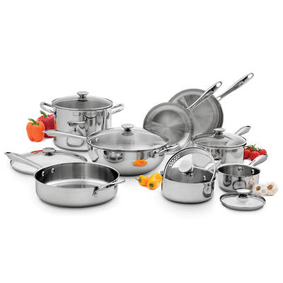 Wolfgang Puck 14-Piece Stainless Steel Cookware Set