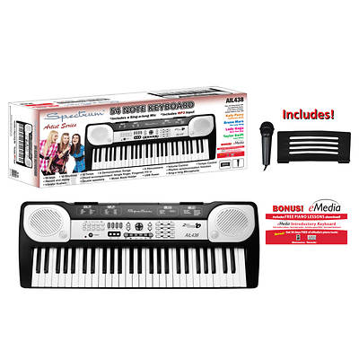 Spectrum USB-Powered 54-Note Electric Keyboard with Bonus Microphone, Music Stand and e-Media Download
