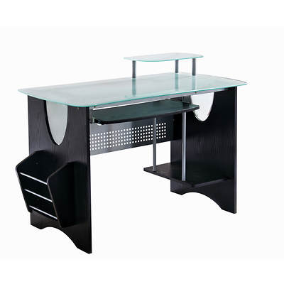 Techni Mobili Glass-Topped Home Office Desk - Espresso