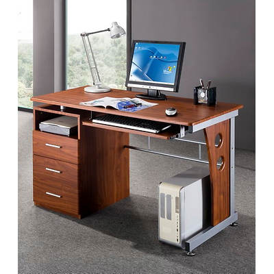 Techni Mobili Computer Desk with Storage - Mahogany