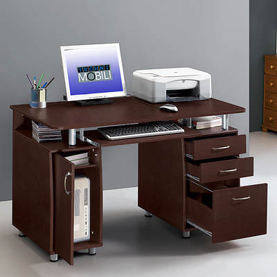 Techni Mobili Complete Computer Desk - Chocolate