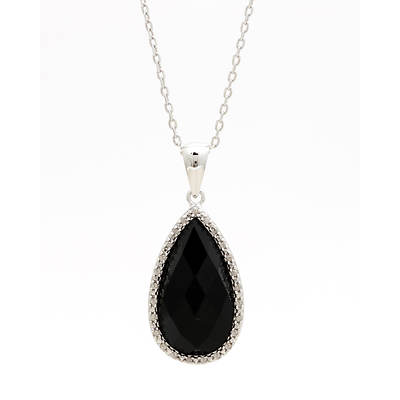 Pear-Shaped Black Onyx and Diamond Accent Pendant Necklace in Sterling Silver