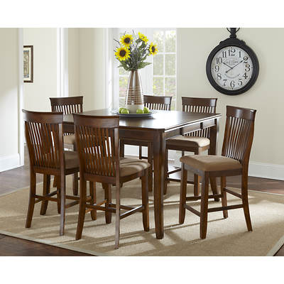 Aada Marie Home Craftsman 7-Piece High Dining Set - Tan/Chestnut