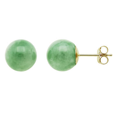 10mm Green Jade Bead Stud Earrings in 14K Yellow Gold