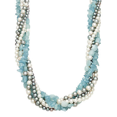 5-8mm White Cultured Freshwater Pearl and Aquamarine 5-Strand Twist Necklace in Sterling Silver