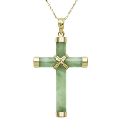 Green Jade Cross Pendant Necklace in 14K Yellow Gold