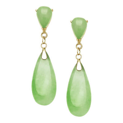 Green Jade Stud Drop Earrings in 14K Yellow Gold