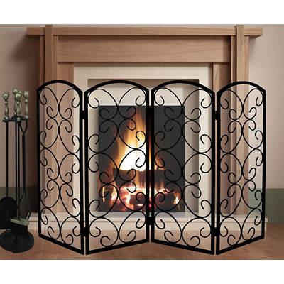 5-Piece Heavy-Duty Fireplace Tool Set and 4-Panel Screen
