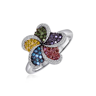 .50 ct. t.w. Multicolored Diamond Swirl Ring in Sterling Silver
