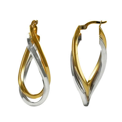 14K Yellow Gold and Sterling Silver Twist Hoop Earrings