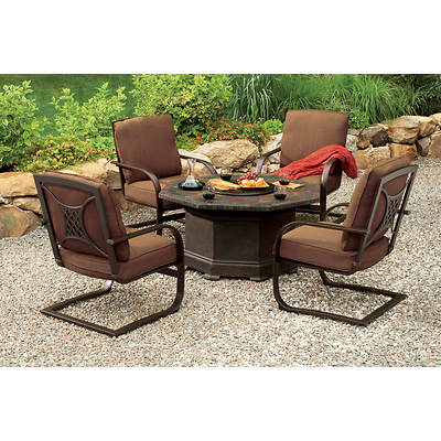 Living Home Outdoors Corsica 5-Piece Fire Pit Chat Set