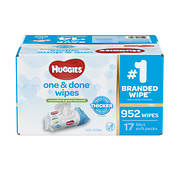 Huggies One & Done Cucumber & Green Tea Baby Wipes, 17 pk./56 ct.
