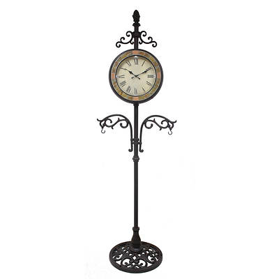 Living Home Double-Sided Slate Clock with Plant Hangers