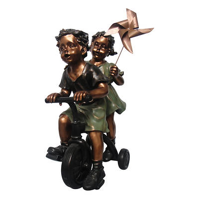 Living Home Cold Cast Bronze Boy and Girl on Tricycle Garden Statue