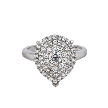 1.00 ct. t.w. Diamond Pear-Shaped Halo Ring in 14k White Gold