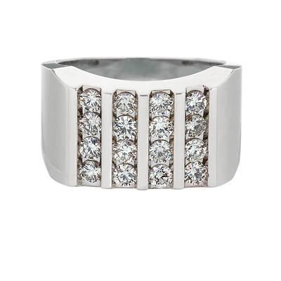 1.50 ct. t.w. Men's Right-Hand 4 Column Diamond Ring in 14K White Gold