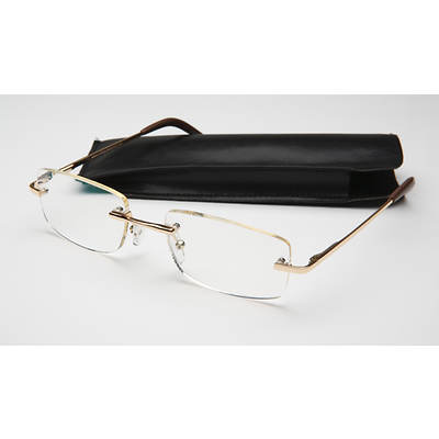 Unisex Wall Street Rimless Computer Reading Glasses in Gold-Tone Metal